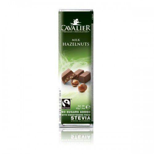 Baton mleczny z belgijskiej czekolady z orzechami laskowymi bez dodatku cukru 40g CAVALIER