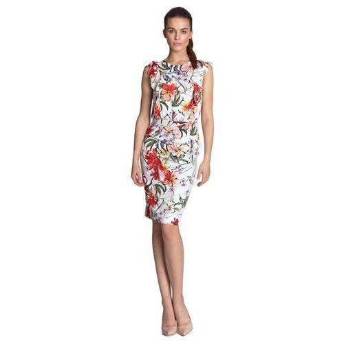 Sukienka ołówkowa z falbanami z przodu - kwiaty/ecru - S117, ołówkowa