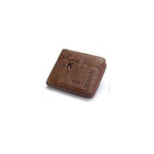 Portfel męski mały zdobiny kavis na zamek, KA0004-coffee-style4