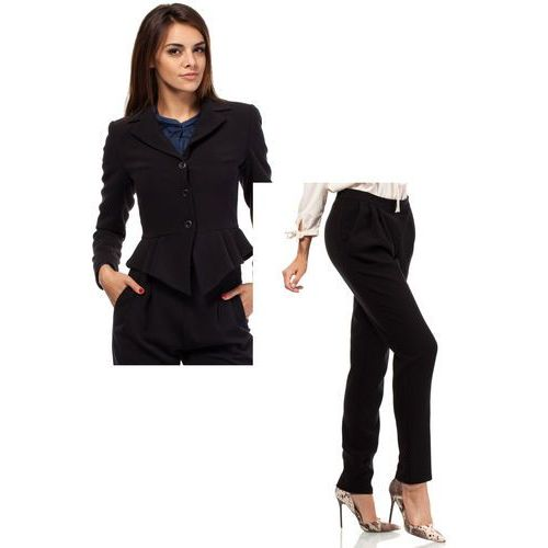 Zestaw Taliowany krótki żakiet i spodnie chino czarne, kolor czarny