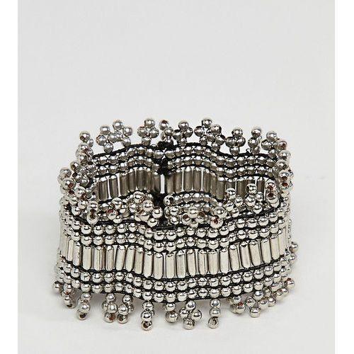 ASOS DESIGN Curve Exclusive Burnished Bead Stretch Bracelet - Silver, kolor szary