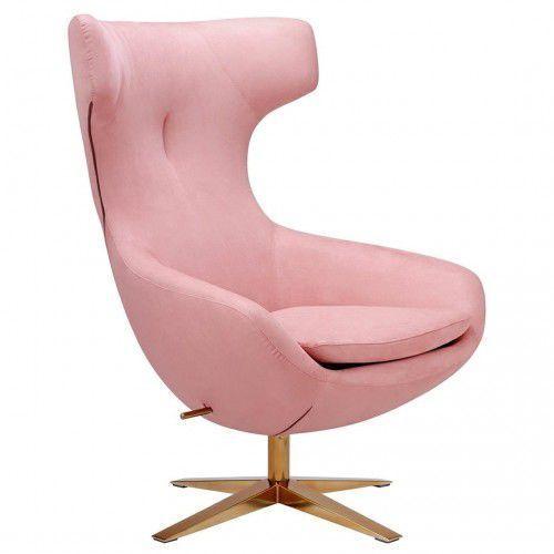 Fotel FIN VELVET jasny róż - welur, podstawa stal, kolor różowy