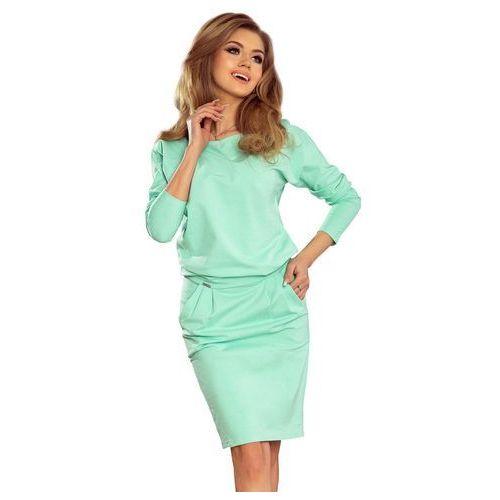 91689c513f Miętowa casualowa sukienka dresowa z dekoltem na plecach