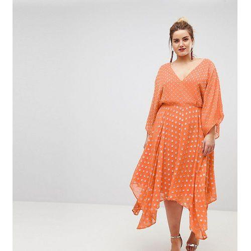 flutter sleeve midi dress with hanky hem in glitter spot - orange, Asos curve