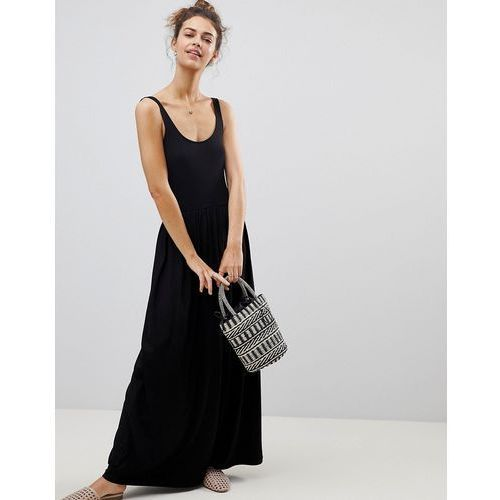 Asos mixed fabric strappy maxi dress - black