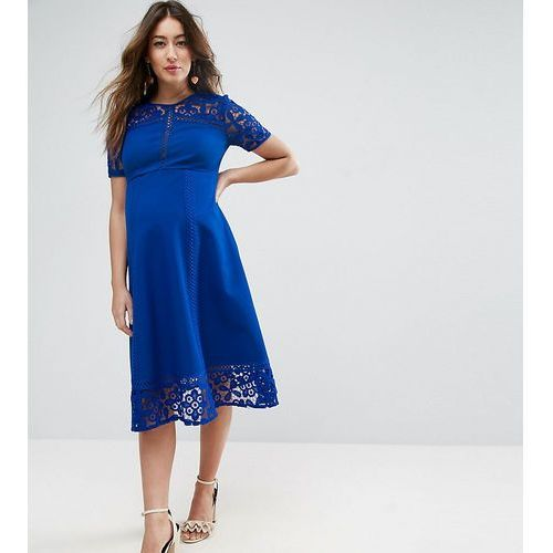 ASOS Maternity Premium Lace Insert Midi Dress - Blue, kolor niebieski