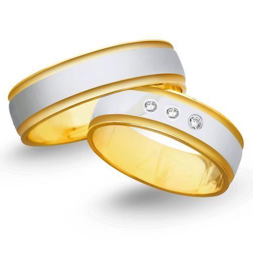 Obrączki ślubne z żółtego i białego złota 6mm - O2K/012 z kategorii Obrączki ślubne