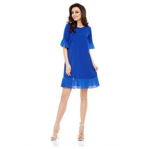 Wizytowa Sukienka z Ozdobnym Plisowaniem - Chabrowa, kolor niebieski