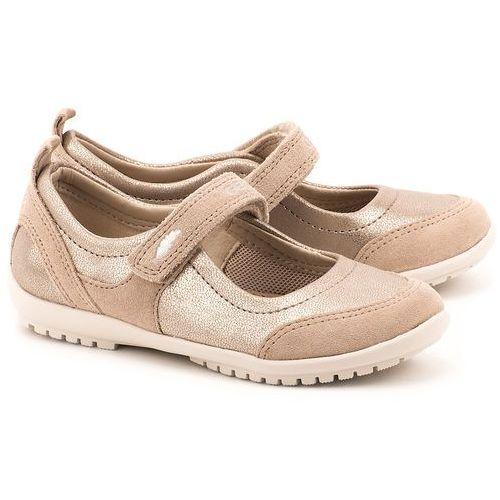 Junior Vega - Beżowe Ekoskórzane Baleriny Dziecięce - J42B1D 0AJ22 C8182 ze sklepu MIVO Shoes Shop On-line