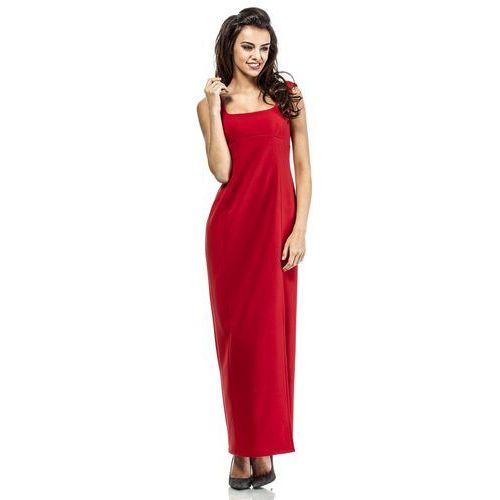 Czerwona Elegancka Suknia Wieczorowa z Rozporkiem na Boku, kolor czerwony