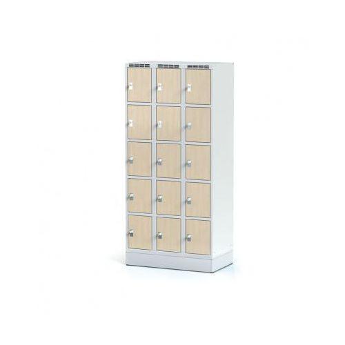 Szafka ubraniowa 15 drzwi 300x300 mm na cokole, drzwi lpw, brzoza, zamek obrotowy marki Alfa 3