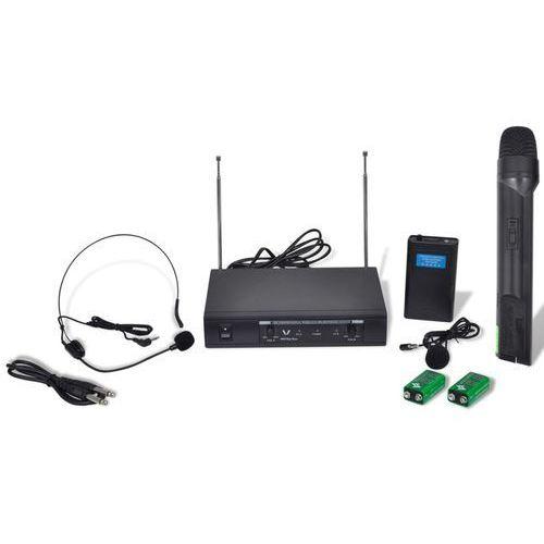 Vidaxl odbiornik z bezprzewodowym mikrofonem oraz słuchawkami vhf (8718475894469)
