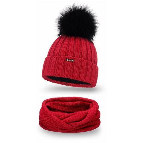 Pamami Zimowy komplet damski- czapka i komin - czerwony