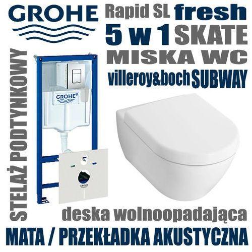 38827 Zestaw podtynkowy WC GROHE Rapid SL 5 w 1 SKATE + miska VILLEROY&BOCH SUBWAY 2.0 z deska wolnoopadającą + MATA AKUSTYCZNA - sprawdź w wybranym sklepie