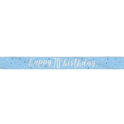 Baner happy birthday niebieski na 70 urodziny - 274 cm - 1 szt. marki Unique