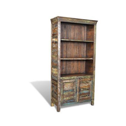 Półka na książki drewno vintage 3 półki i 2 drzwiowa szafka ze sklepu VidaXL