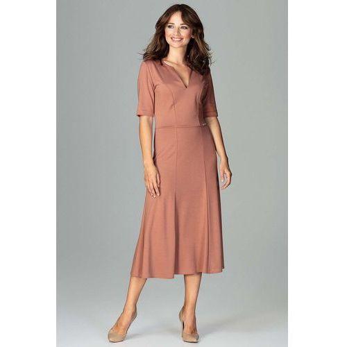 03877a5ecd Brązowa Koktajlowa Sukienka Midi z Wycięciem V przy Dekolcie