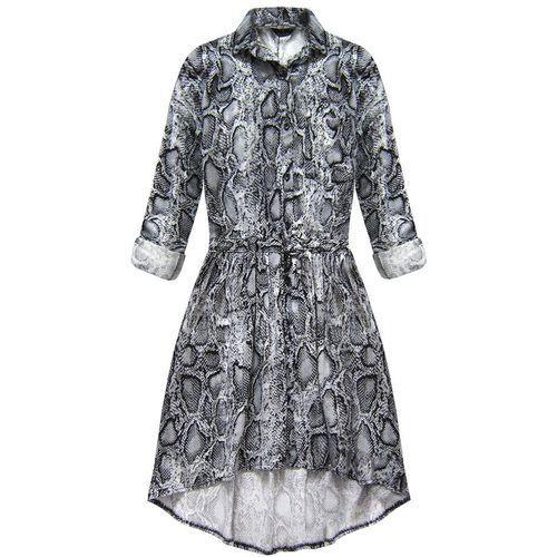 Sukienka koszulowa w wężowy wzór szara (132art) - szary marki My still life