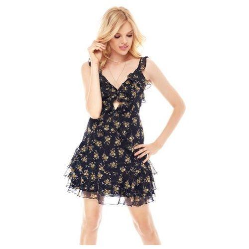 Sukienka Monaco granatowa w kwiaty, kolor niebieski
