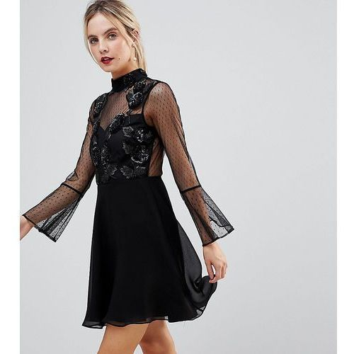 Asos petite fluted sleeve embellished dobby skater dress - black
