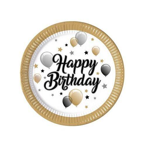 Talerzyki urodzinowe Happy Birthday baloniki i gwiazdki - 23 cm - 8 szt.