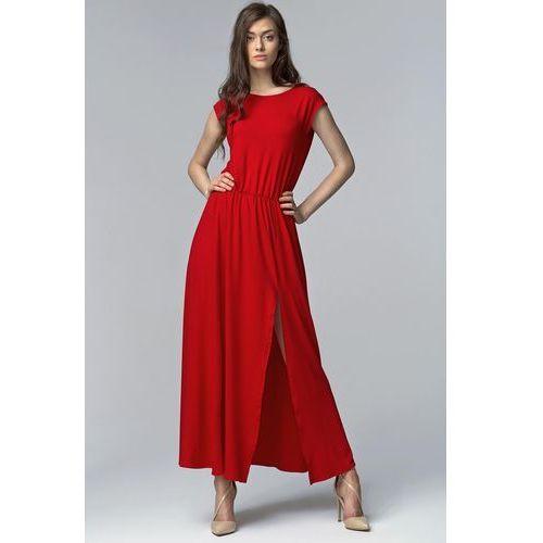 Czerwona Efektowna Maxi Sukienka z Długim Rozporkiem, NS61re