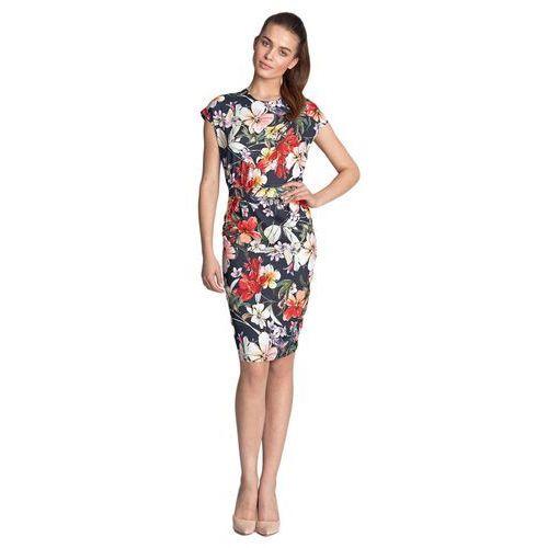 Sukienka ołówkowa - kwiaty/granat - s120, Nife