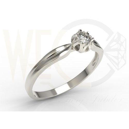 Pierścionek w kształcie konwalii AP-4008B z białego złota z brylantem. - 0.08 ct, marki WĘC - Twój Jubiler do zakupu w POLDECK