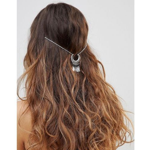 Asos design curved shape and metal tassel multirow hair chain - silver