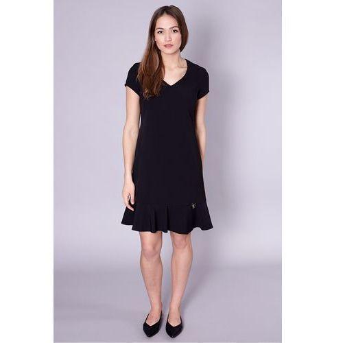 789d09faec Jedwabna sukienka z falbaną w kolorze czarnym - Click Fashion