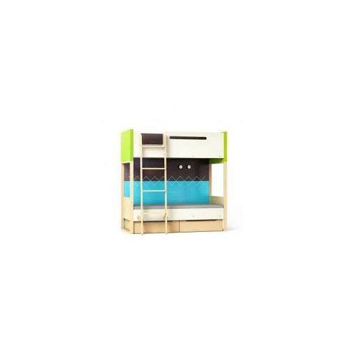Loft łóżko piętrowe z pojemnikami TIMOORE PLUS zielone - wersja premium - oferta [054a4f76371515b2]