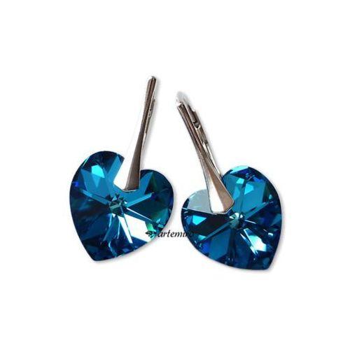 0651ab8637863 Kolczyki Swarovski serce Bermuda Blue srebrne 53,00 zł Kolczyki wykonane ze  srebr.