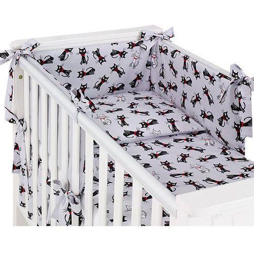 MAMO-TATO dwustronna rozbieralna pościel 3-el Kotki szare / szary do łóżeczka 60x120cm