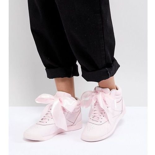 Reebok Classic Freestyle Hi Satin Bow Trainers In Pink - Pink, kolor różowy