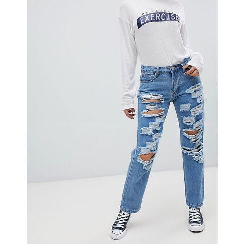 Glamorous ripped boyfriend jeans - Blue, w 4 rozmiarach