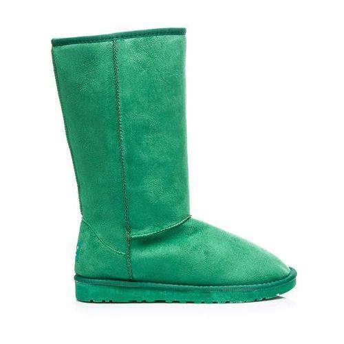 Zielone wysokie kobiece ciepłe śniegowce - odcienie zieleni