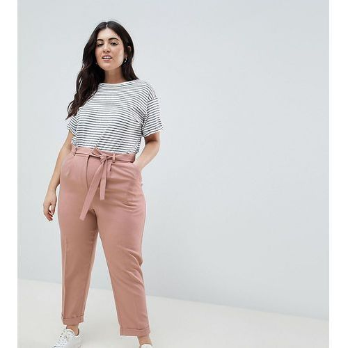 ASOS DESIGN Curve woven peg trousers with obi tie - Stone