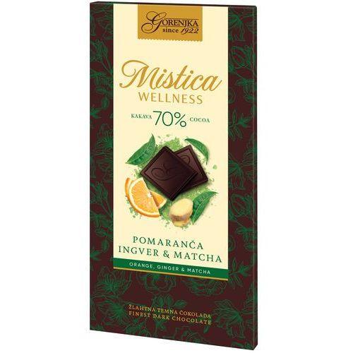 MISTICA WELLNESS czekolada gorzka 70% ze skórkami pomarańczy, imbirem i matchą (3838902409228)