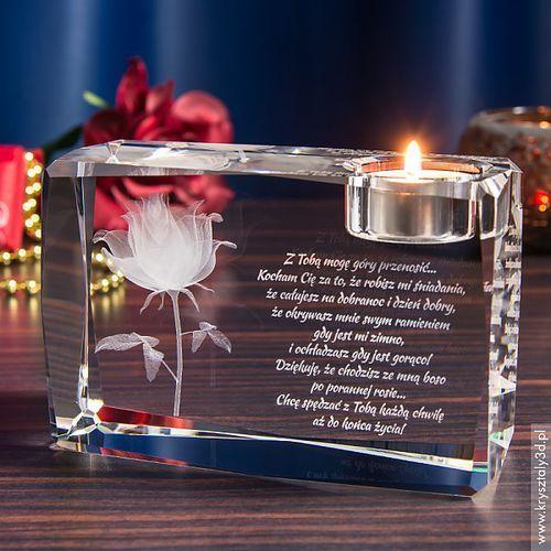 RÓŻA 3D Kwiat Miłości ♥ mega duży ozdobny świecznik • GRAWER 3D