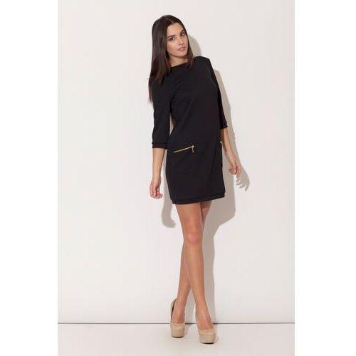 Czarna Mini sukienka z Rękawem 3/4 i Kieszeniami, kolor czarny