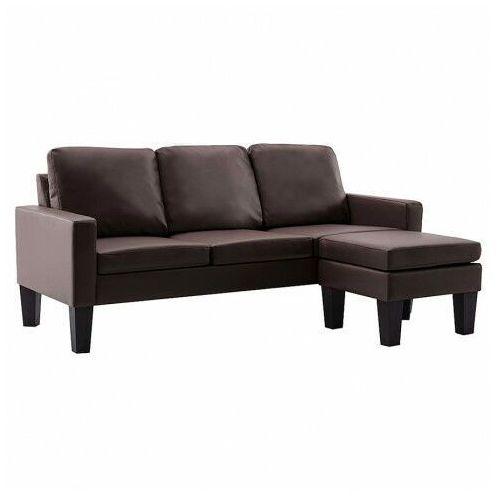 3-osobowa sofa z ekoskóry z podnóżkiem brązowa - Zuria 4Q, vidaxl_288770
