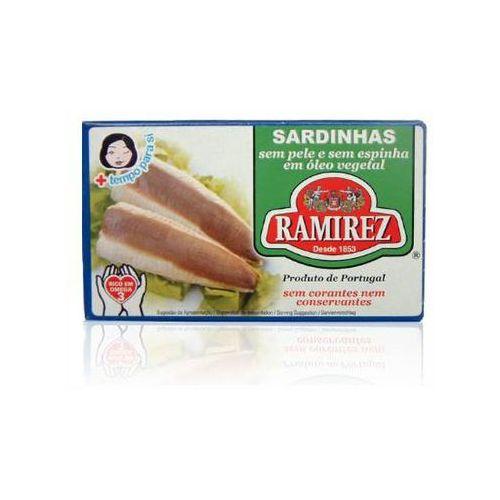 Sardynki portugalskie bez skóry i bez ości w oleju roślinnym 125g marki Ramirez