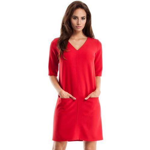 decb8033d40e7e Czerwona Sukienka w Serek z Kieszeniami, E250re 125,90 zł Material:  poliester 60% wiskoza 30% welna 10%.Dostepne rozmiary: S (36), M (38), L  (40), ...