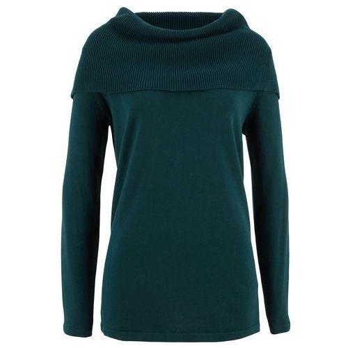 Bonprix Sweter z golfem, długi rękaw niebieskozielony