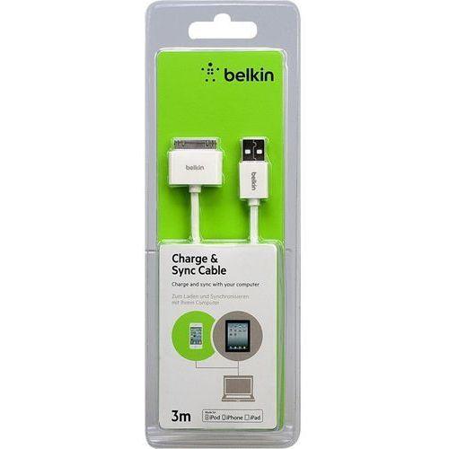 BELKIN Biały Kabel USB 1A/2.1A 3m iPhone 3GS 4 4S (kabel transmisyjny do telefonu)