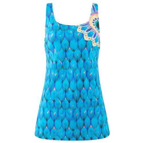 Sukienka kąpielowa wyszczuplająca niebieski z nadrukiem, Bonprix, S-XXXXL