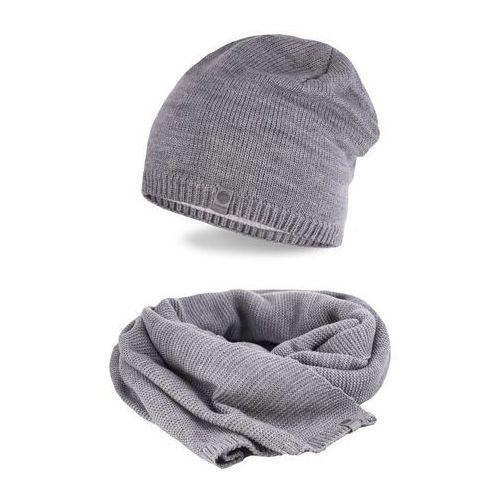 Pamami Zimowy komplet męski - czapka i szalik - jasnoszary (5902934061704)