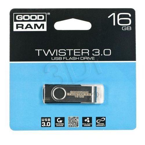 Pendrive GoodRam Twister 16GB USB 3.0 Czarny (PD16GH3GRTSKR9) Darmowy odbiór w 15 miastach!, kup u jednego z partnerów