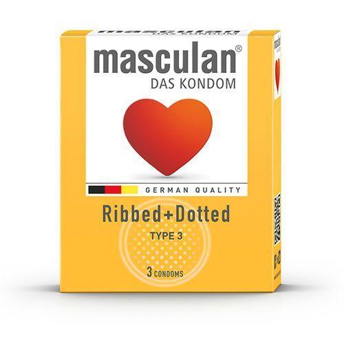 Prezerwatywy lateksowe z wypustkami - Masculan Type Type 3 Ribbed + Dotted 48szt