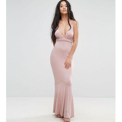 slinky deep plunge fishtail plait strap maxi dress - pink marki Asos petite